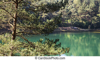 Beautiful vibrant landscape image of old clay pit quarry lake with unusual colored green water