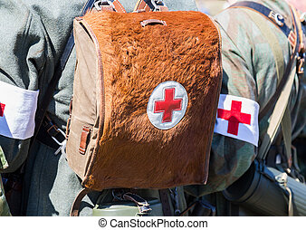 German military paramedic equipment with a red cross...