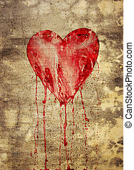 broken and bleeding heart on the wall - Broken and bleeding...