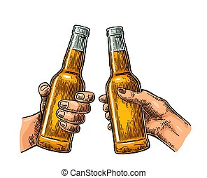 Female and male hands holding and clinking open beer...