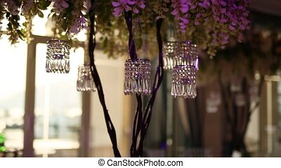 Candles at the wedding banquet. Wedding decorations. Wedding...