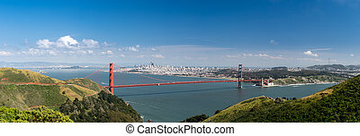 High definition panorama of the Golden Gate Bridge and San Francisco