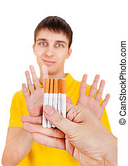 Young Man refuse a Cigarettes Isolated on the White...