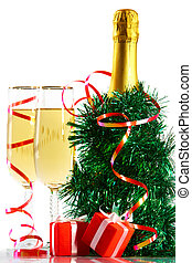 Christmas still life - A bottle of champagne in spangle with...