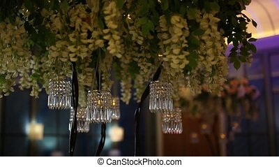 The chandelier in the restaurant. The interior design of the...