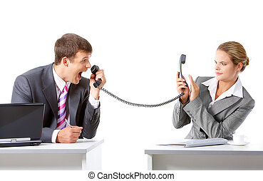 Business communication - Image of businessman screaming on...