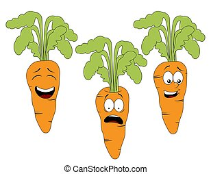 Set of cartoon carrot character with different expressions...