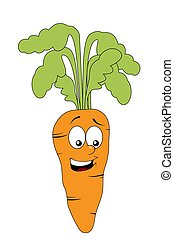 Smiling carrot character isolated on white background