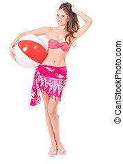 Girl posing in bikini - Portrait of happy young woman in...