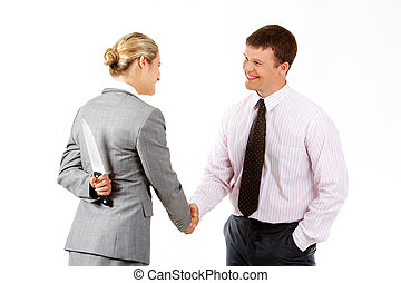 Dangerous handshake - Conceptual image of business woman...