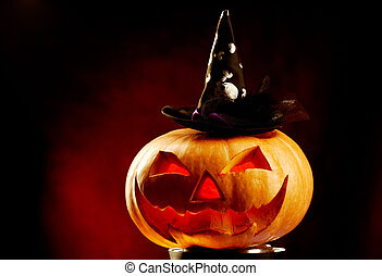 Pumpkin with hat - Photo of pumpkin in hat with red...