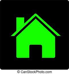 Vecteur-maison, icône - maison verte sur fonds noir