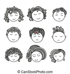 Set of nine different cute hand drawn faces.