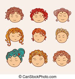 Set of nine different cute hand drawn faces with a multi-colored curly hair.