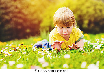 Sunny summer portrait of young handsome little boy playing...