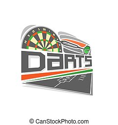 Vector logo for Darts game: thrown green arrow flying on...