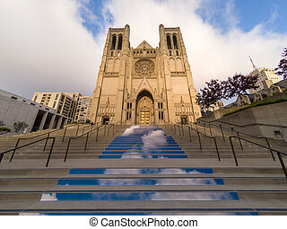 Entrance steps up to Grace Catholic Cathedral in San Francisco, California