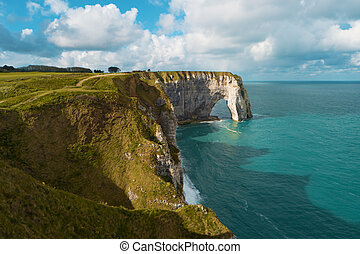 Cliffs and natural arch, Etretat, France, Europe