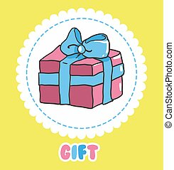 Hand draw Gift icon vector. Pink present box with bow