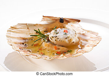 Scallop - Fresh grilled scallop on white plate close up