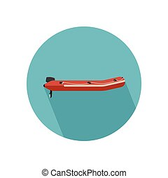 Inflatable red boat with long shadow. Vector flat icon of...