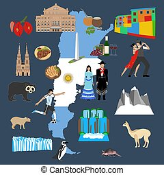 Argentina travel illustration on the blue background. Vector...