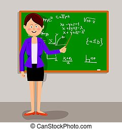 Female teacher standing with pointer next to blackboard in...