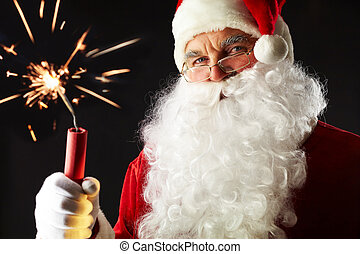 Treacherous Santa - Portrait of Santa with a burning stick...