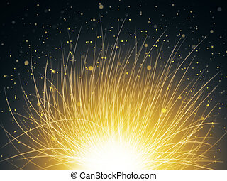 Abstract yellow space flower on starry sky background. 3D...