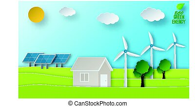 Eco energy illustration in paper art style. Green power conept. Solar and wind energy usage.