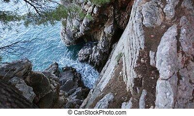 Rocks on the sea in Montenegro. Rocky coast. Wild beach. Dangero