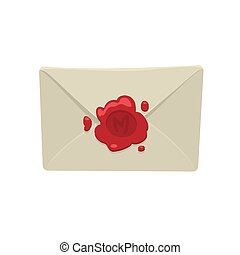 Cartoon white envelope with red wax seal isolated on white background.