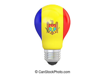 Light bulb with Moldova flag, 3D rendering isolated on white...