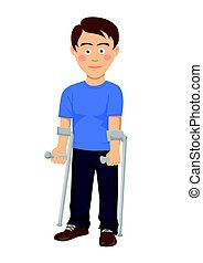Young man standing with crutches over white background