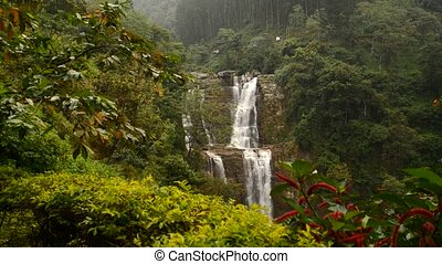 Beautiful waterfall Ramboda in Sri Lanka. Sri Lanka. Nuwara...