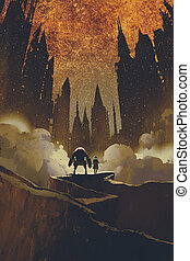 the girl and robot standing on rock path looking at dark castles