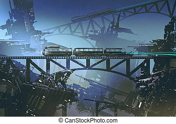 futuristic train on railway and bridge in abandoned city -...