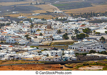 Top view on Teguise city from Castle hill on Lanzarote island in Spain, former capital of the island