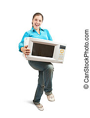 Girl with microwave oven - Girl in blue with microwave oven....