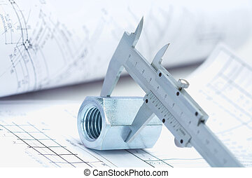 Working instruments - Image of architectural ruler over nut...