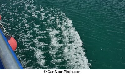 Waves from the boat on the water. Bay of Kotor, Montenegro,...