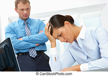 Business failure - Image of a young upset businesswoman, her...