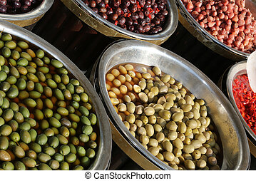 stall with Mediterranean olives and other products for sale...
