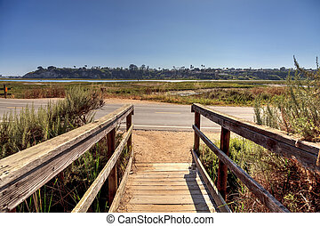Newport Back Bay loop hiking trail winds along the marsh,...