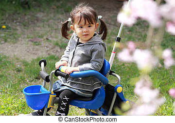 Japanese girl riding on the tricycle (2 years old) and...