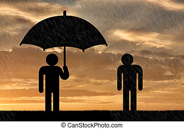 Concept of selfishness and greed. Man under an umbrella and...