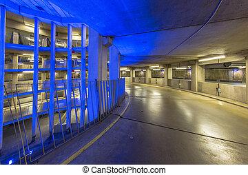 Empty ramp in parking garage