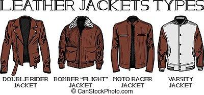 leather jackets types set