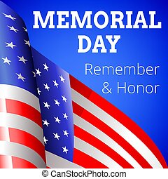 Memorial day background with flag of USA