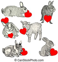Collection with cute animals holding red hearts. Happy Valentines day.eps